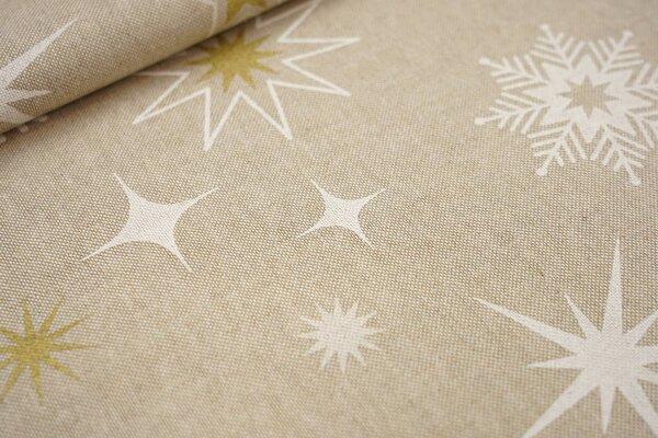 Canvas-Stoff Dekostoff Leinenoptik Sterne Eiskristalle natur / weiß / gold
