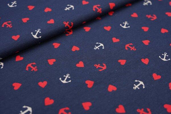 Baumwoll-Jersey rote und beige Anker und Herzen auf dunkelblau maritim