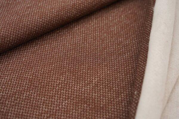 Jacquard-Sweat mit Kästchen-Muster und kuscheliger Innenseite braun / weiß