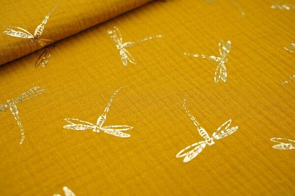 Musselin Stoff Double Gauze senf mit goldenen Libellen