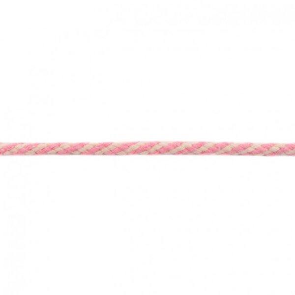 Baumwoll-Kordel rund zweifarbig ecru / rosa 6 mm breit
