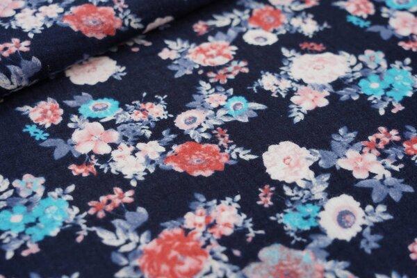Musselin Stoff Double Gauze mit kleinen Rosen Blumen auf dunkelblau