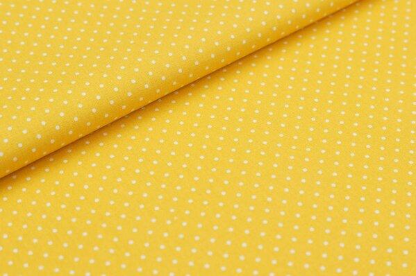 Baumwollstoff Baumwolle senf gelb mit kleinen weißen Punkten