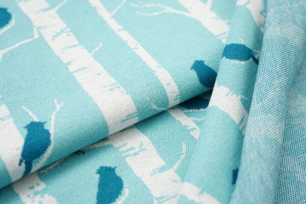 Jacquard-Sweat Ben Vögel und Bäume eisblau off white und petrol