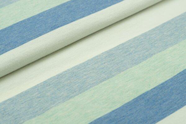 Jersey Maya Blockstreifen pastell jeansblau off white hellblau mint melange