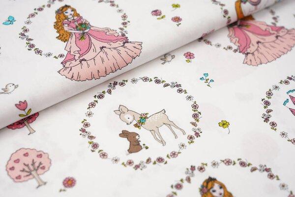 Baumwolle Prinzessin Einhorn Blumen Schloss Tiere auf weiß