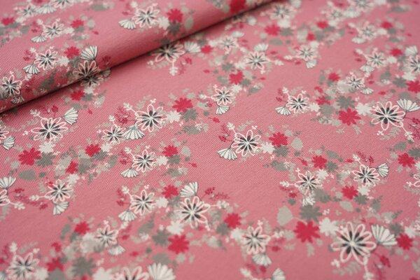 Baumwoll-Jersey mit Blumen altrosa / grau / weiß / pink