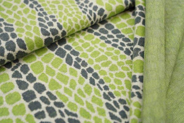 Jacquard-Jersey Schlangenhaut Design off white / dunkelgrau / hellgrün