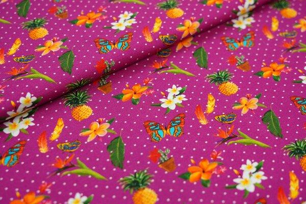 Baumwoll-Jersey Schmetterling Ananas Blumen Federn auf beere