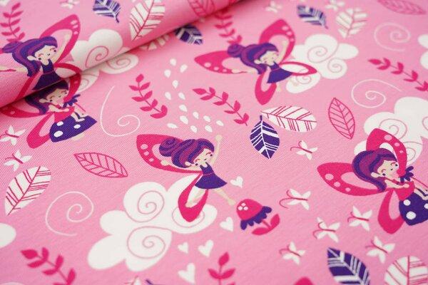 Baumwoll-Jersey Feen Schmetterlinge Wolken Herzen Blätter auf rosa