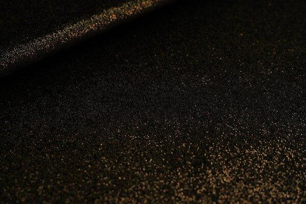 Elastischer Samt Jersey Modestoff uni schwarz mit gold Glitzer