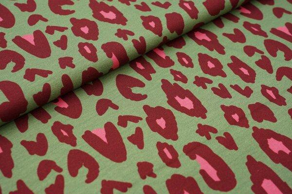 Baumwoll-Jersey Swafing lovelyfavs by Cherry Picking Leoparden Muster grün / bordeaux / pink