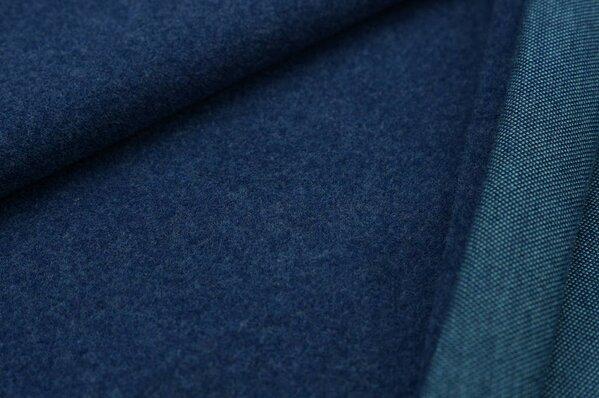 Kuschel Jacquard-Sweat Max Uni navy blau Melange mit eisblau