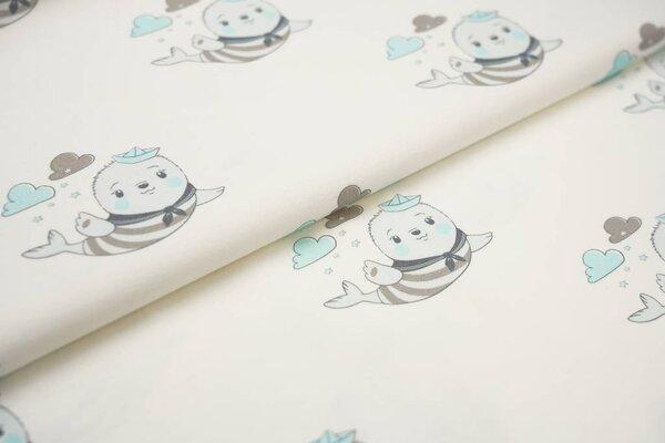 Baumwoll-Jersey Digitaldruck Seerobben mit Hut off white pastell eisblau schlamm
