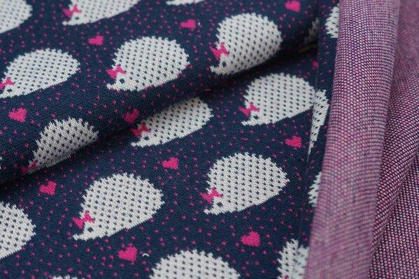 Jacquard-Sweat Ben Igel Vierecke Herzen navy blau pink off white