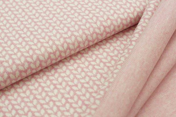 Jacquard-Sweat Mia off white kleine Blätter auf pastell pink Melange