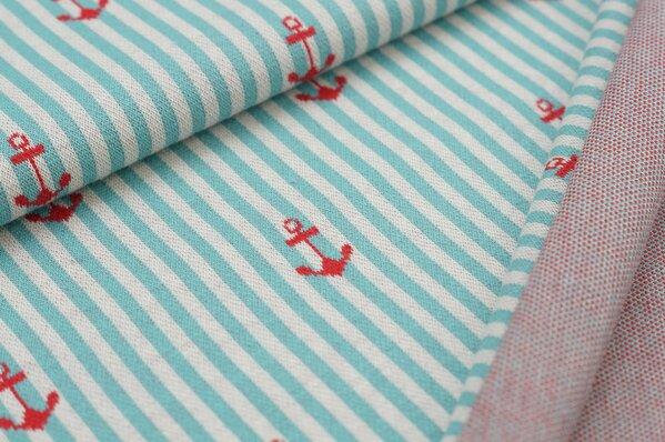 Jacquard-Sweat mit Ankern auf Streifen eisblau / off white / rot