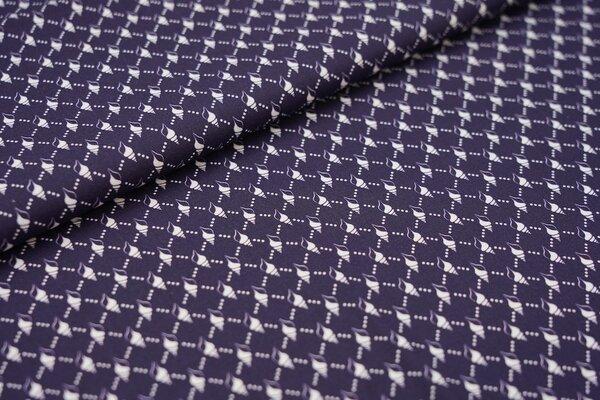 Baumwolle Swafing Kiel weiße Muscheln mit Punkte Muster auf navy blau
