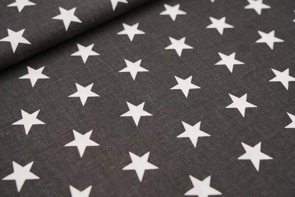 Baumwollstoff weiße Sterne auf schwarz maritime Baumwolle