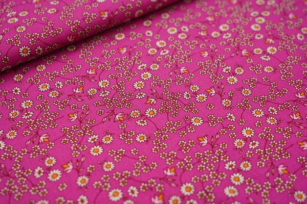 Baumwollstoff kleine Blumen auf pink