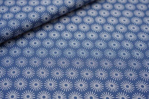 Baumwoll-Stoff mit Blumen jeansblau / weiß