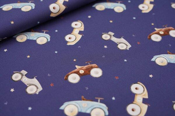 Baumwollstoff Oldtimer Rennwagen Seifenkisten und Sterne auf dunkelblau