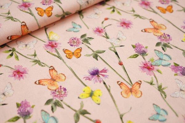 Baumwollstoff bunte Schmetterlinge und Blumen auf lachs rosa