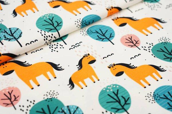Baumwoll-Jersey Digitaldruck Pferd orange im Wald koralle petrol auf off white