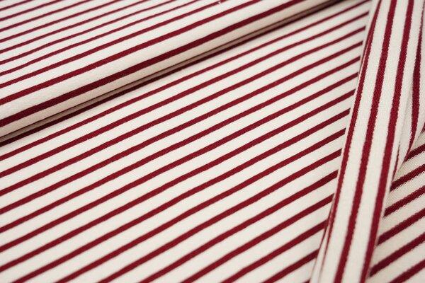 XXL Baumwoll-Sweat MARIE Streifen Ringel mittel bordeaux rot und off white