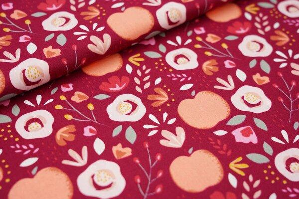 Baumwollstoff bunte Blumen und Äpfel auf weinrot Apfel Blätter Punkte