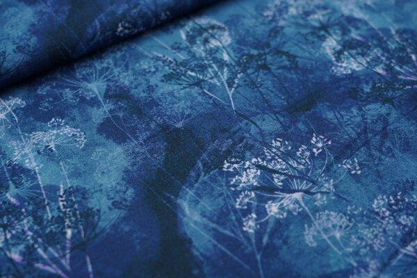 Digitaldruck Viskose-Jersey mit Wildblumen auf blau