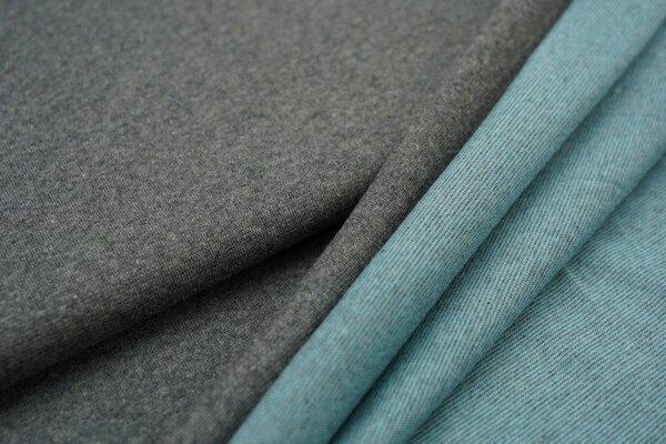 Jacquard-Jersey dunkelgrau Uni mit dunkelgrau und eisblauer Rückseite