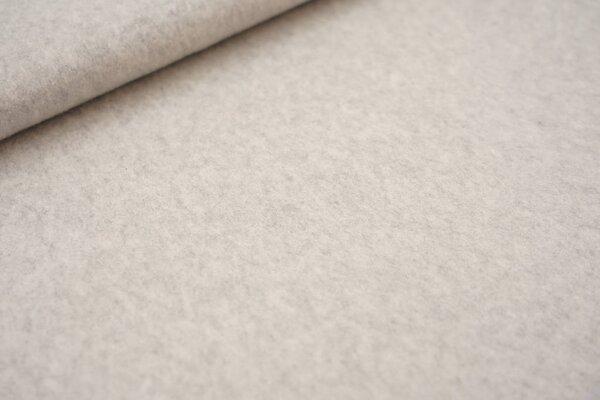 Dicker kuscheliger Baumwoll-Fleece Stoff uni hellgrau meliert