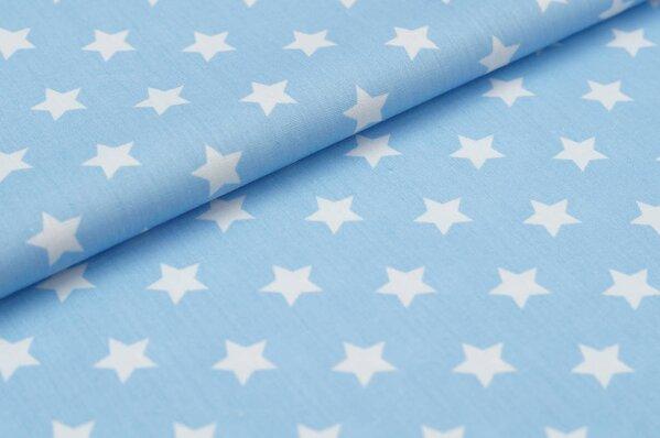 Baumwollstoff Baumwolle große Sterne hellblau / weiß