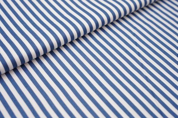 Baumwollstoff Baumwolle Streifen jeansblau / weiß