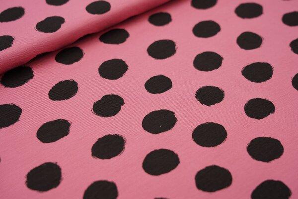 Baumwoll-Jersey große schwarze Punkte auf dunkel altrosa