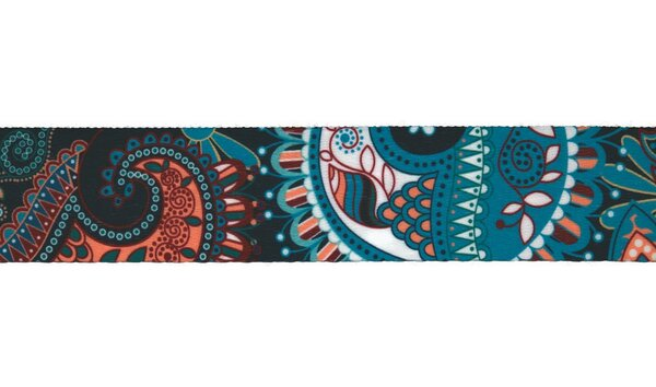 Breites Gurtband mit buntem Retro Paisley Blumen Muster 40 mm