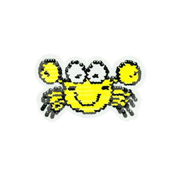 Applikation Krabbe Krebs gelb weiß schwarz Aufnäher mit Wendepailletten