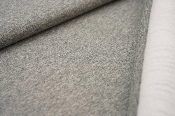 Kuscheliger Alpenfleece uni grau meliert Kuschelsweat