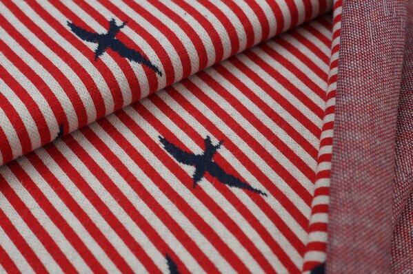 Jacquard-Sweat Schwalben Vögel (gefüllt) Streifen rot / off white / navy blau
