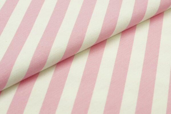 Dekostoff Canvas Streifen Ringel schräg rosa / weiß
