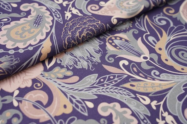 Baumwoll-Jersey buntes Retro Paisley-Muster Blumen lila altrosa jeansblau