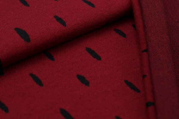 Jacquard-Sweat Ben schwarze ovale Tropfen auf bordeaux rot