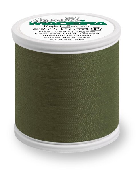 Madeira Nähgarn Aerofil No. 35 extra stark Farbe 9562 dunkel khaki grün