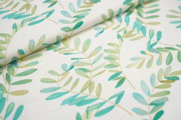 Baumwoll-Jersey Digitaldruck Blätter Zweige off white türkis hellgrün
