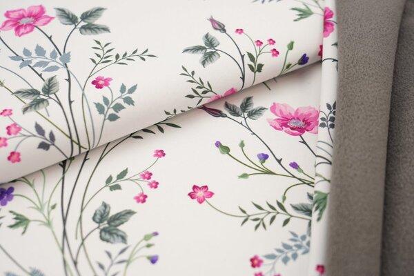 Softshell-Stoff Swafing Fiete langstielige Blumen auf weiß / graue Innenseite
