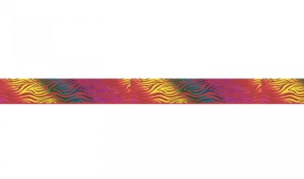 Webband bunte Tiger Streifen auf rot 25 mm Zierband Dekoband