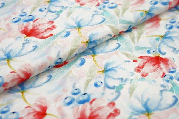 Baumwoll-Jersey mit Digitaldruck Aquarell Blumen Blaubeeren off white blau rot