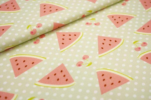 Traumbeere Baumwoll-Jersey Digitaldruck Wassermelonen Kirschen und Punkte auf pistaziengrün