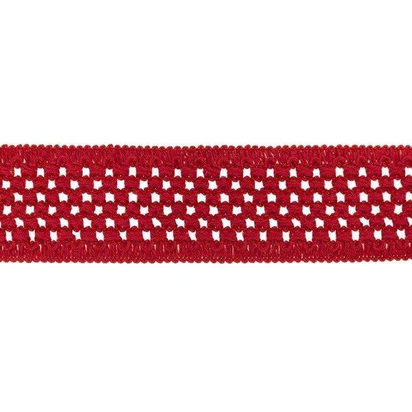 Elastisches Baumwollband in Häkeloptik uni rot 50 mm